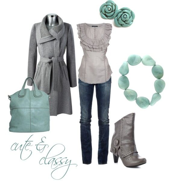 Dont dig the boots, but LOVE the combo of turquoise and gray.
