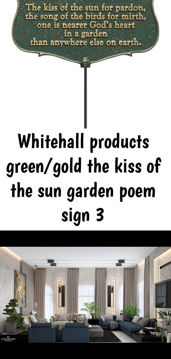 "Whitehall Products /""The Kiss of The Sun.../"" Garden Poem Sign Green//Gold"