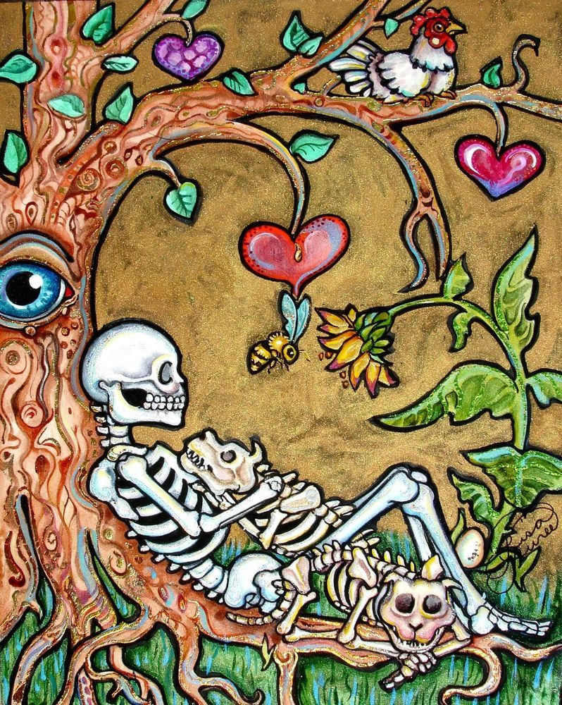 Lisa Luree art Original Day of the Dead DOG skeleton 2 DOGS Chicken ...