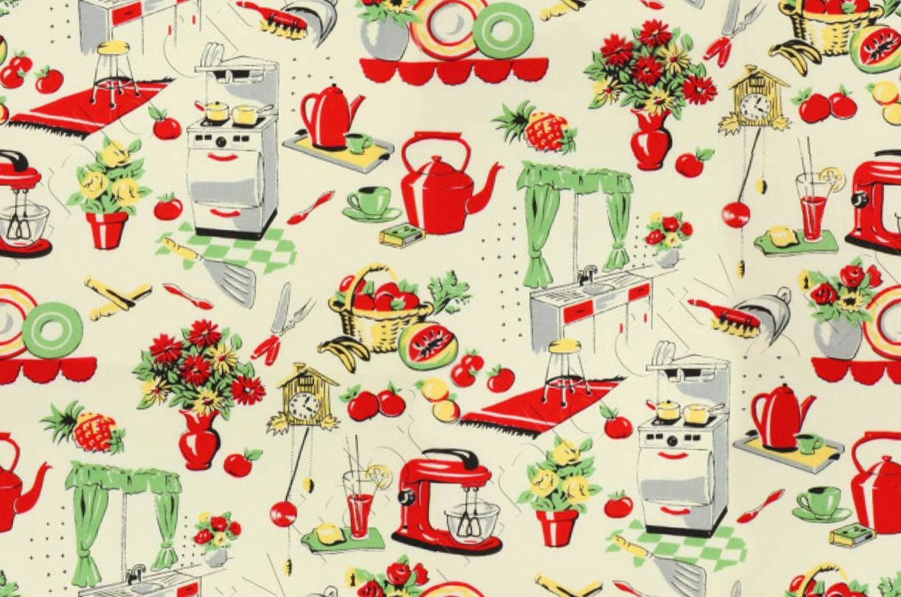 Vintage 50 S Repeating Seamless Wallpaper Or Fabric Partial Pattern Found On The Internet Just Sayin But Tweaked Kitchen Fabric Retro Fabric Retro Kitchen