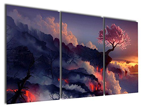 Gardenia Art – Magic Cherry Tree in Volcanoes Canvas Prints No Frame Modern Wall Art Paintings Artwork for Room Decoration,16X24 inch, Unframed