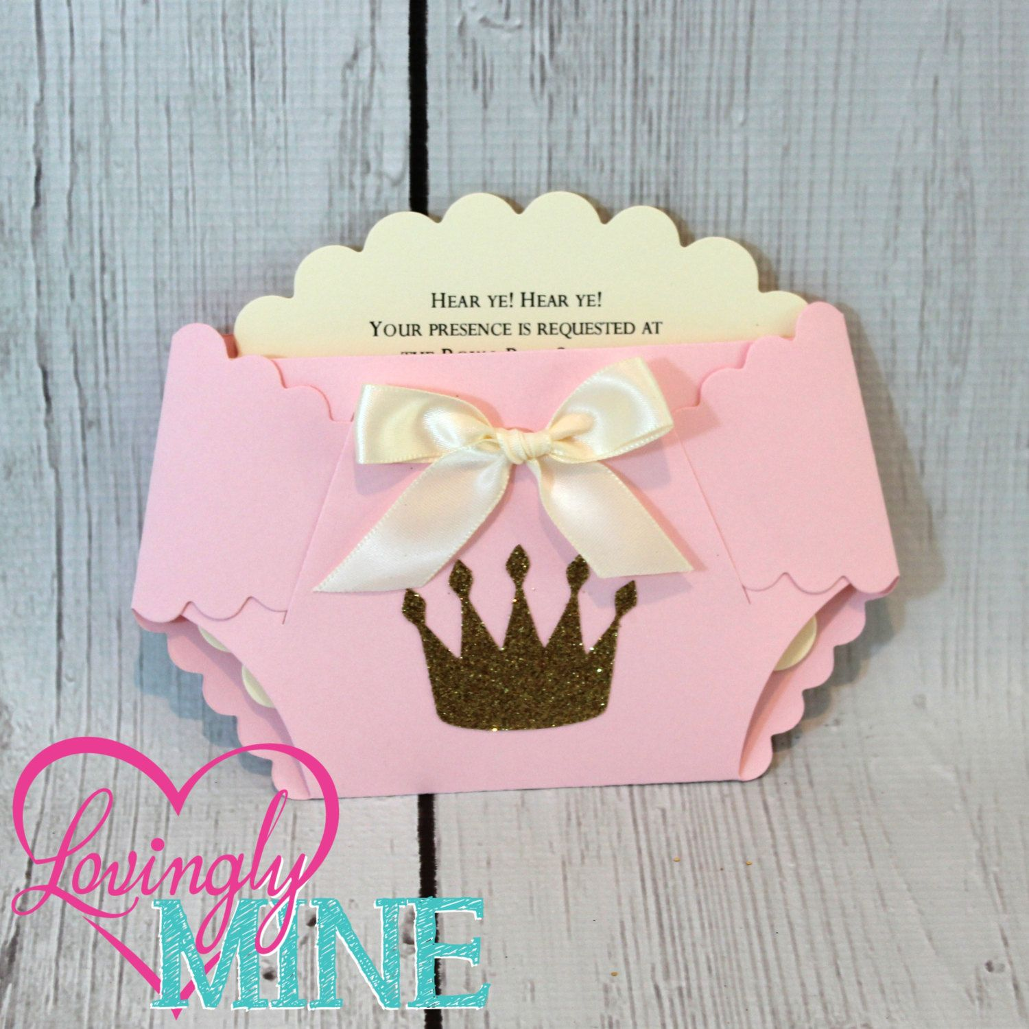 Princess Baby Shower Diaper Invitations in Baby Pink, Ivory and ...