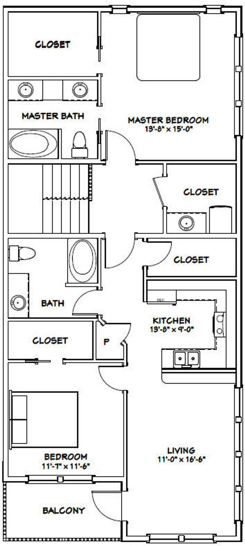 44x48 House 2 Bedroom 2 5 Bath 1645 Sq Ft Pdf Floor Etsy In 2021 Garage Floor Plans Garage Plans With Loft Garage House Plans