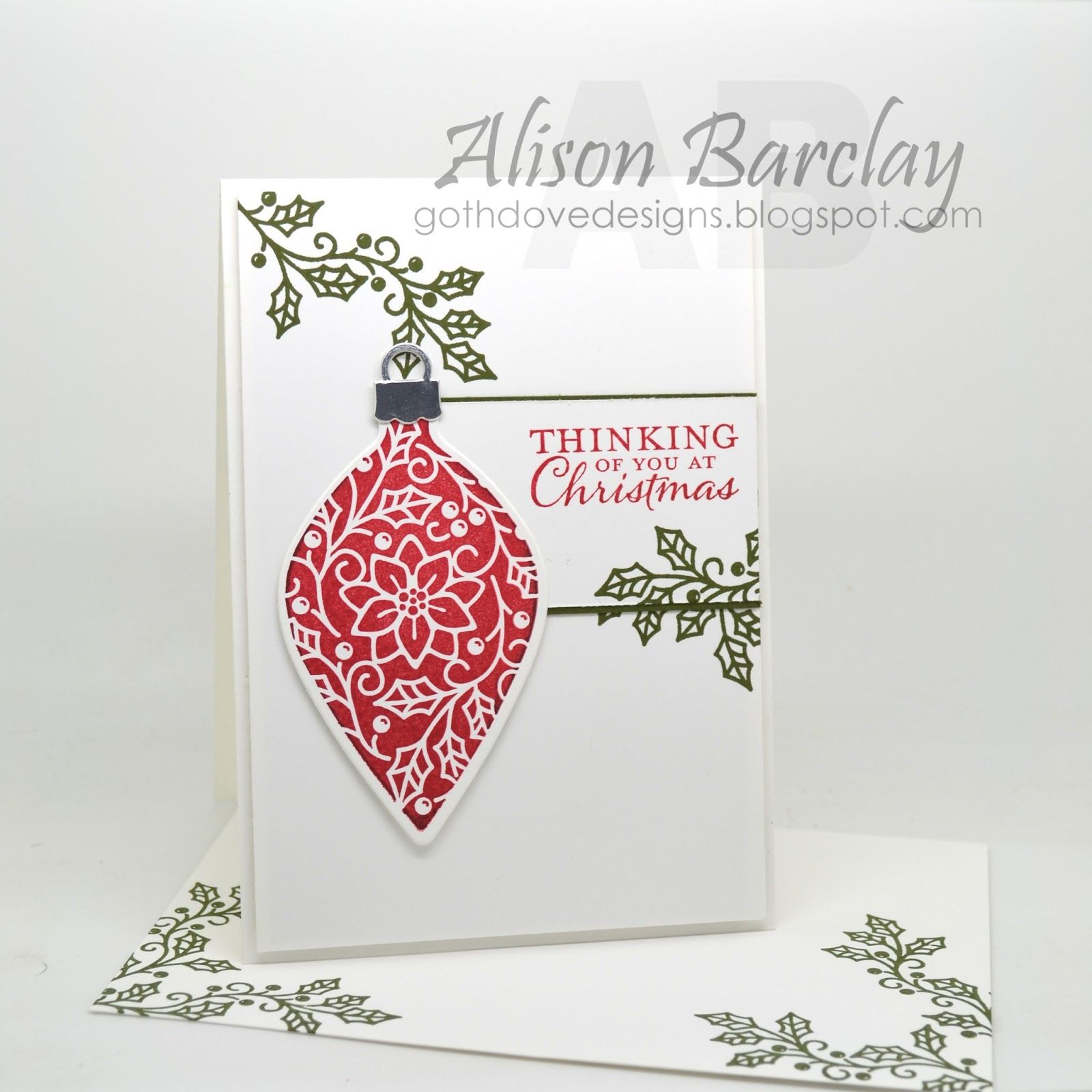 Gothdove designs alison barclay stampin up australia stampin embellished ornaments holly is peeping down i just love mossy meadow against a stark white background kristyandbryce Image collections