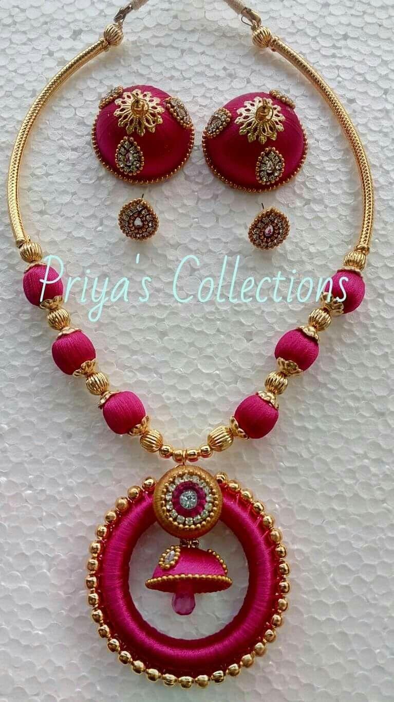 Pin By Mrudula Vellapalem On Silk Thread Jewellery Ideas