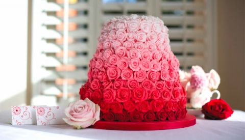 rainbow red and pink wedding cake
