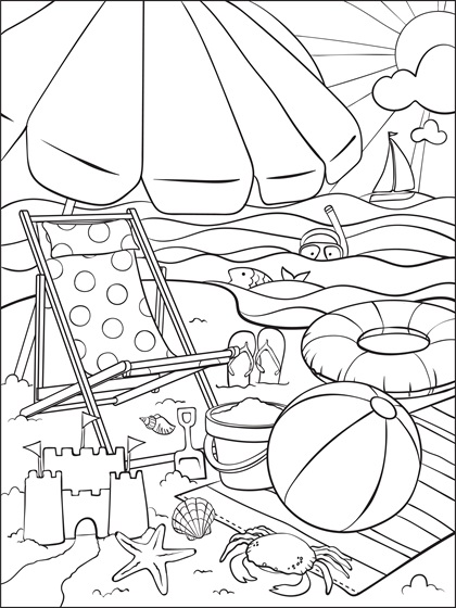 At The Beach Coloring Page Crayola Com Beach Coloring Pages Summer Coloring Sheets Summer Coloring Pages