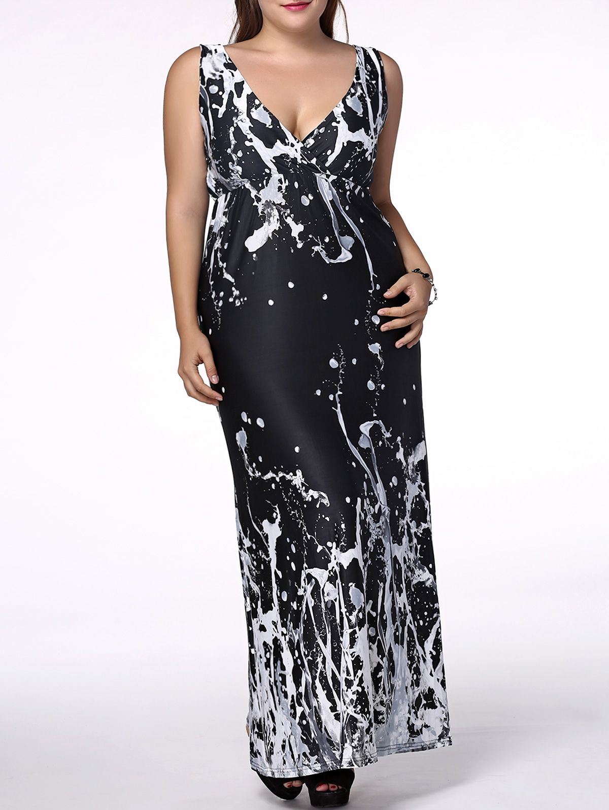 Women's Plus Size Alluring Plunging Neck Scrawl Print Dress