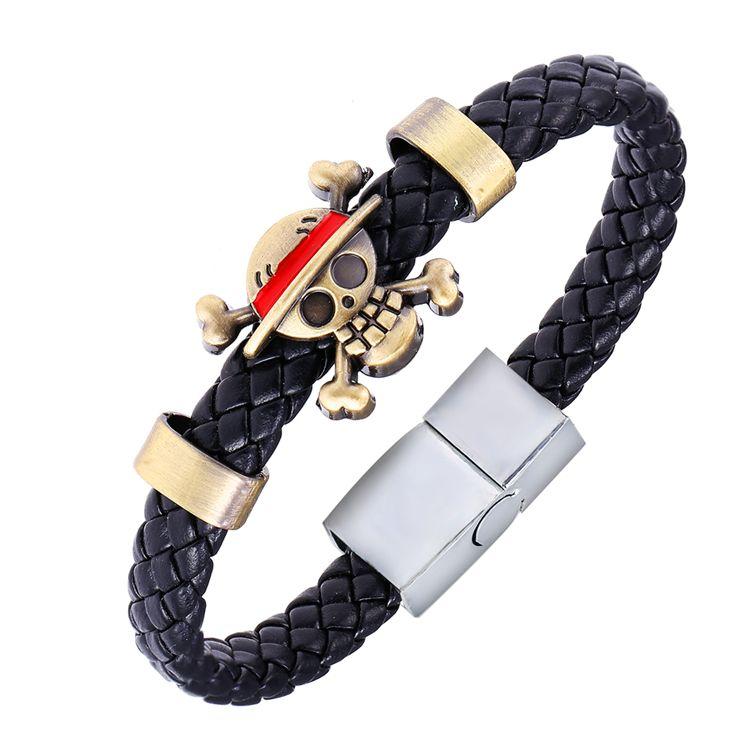 Mj 5pcs Lot Hot Anime Cartoon Bracelets One Piece Luffy Weave Leather Bracelet Bangle Cosplay Gifts