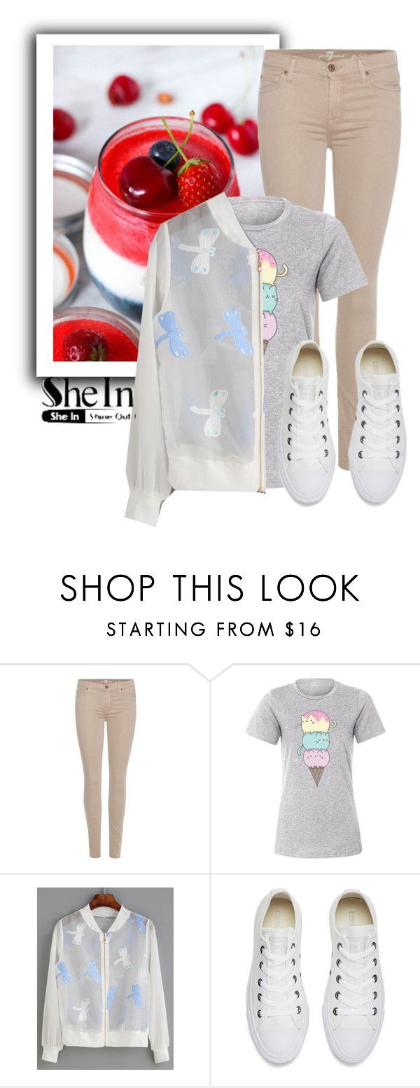 """""""Untitled #52"""" by ladyangelica ❤ liked on Polyvore featuring 7 For All Mankind, Pusheen, WithChic and Converse"""