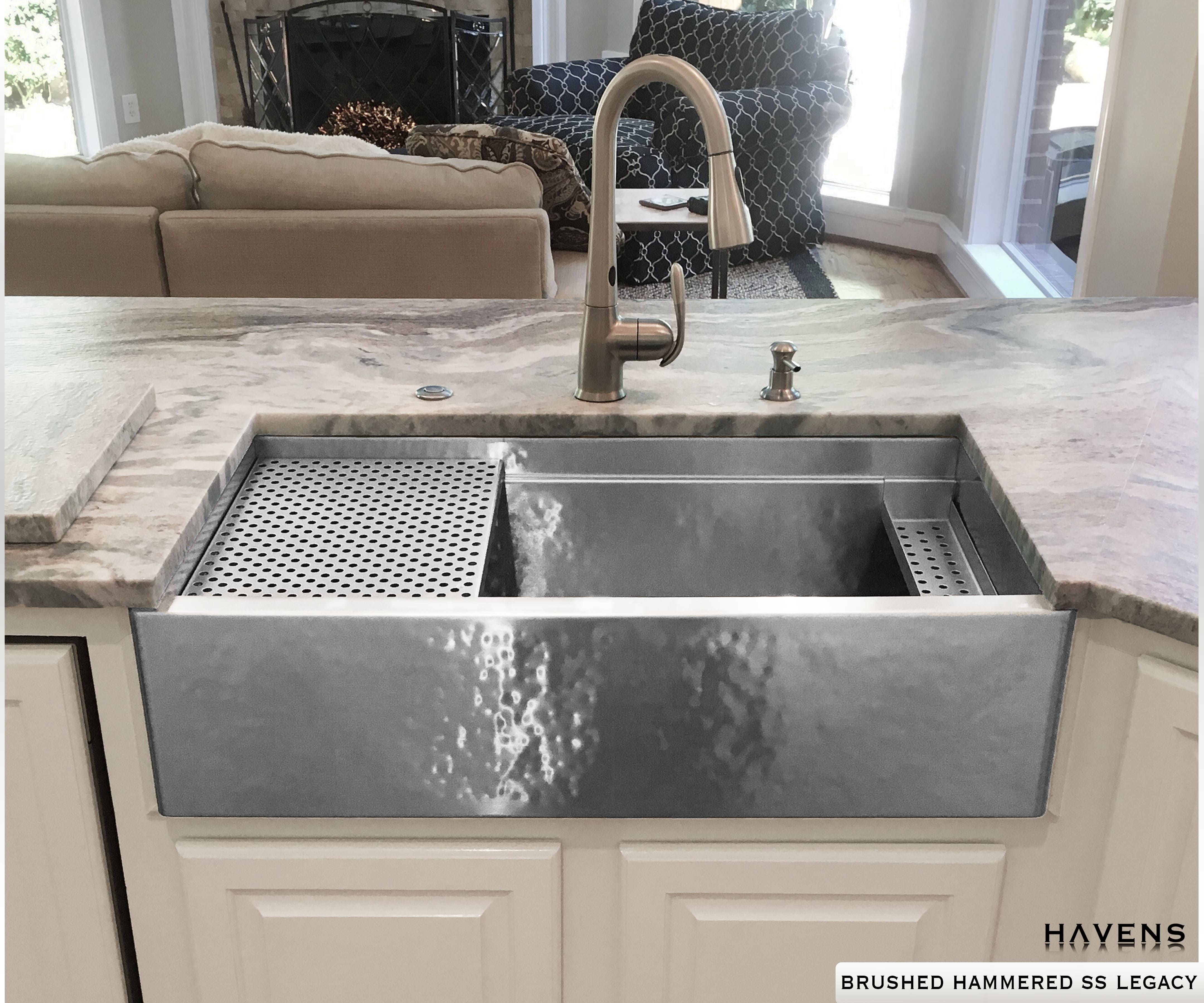 Hammered Stainless Steel Farmhouse Legacy Workstation Sink Farmhouse Sink Stainless Steel Sinks Sink