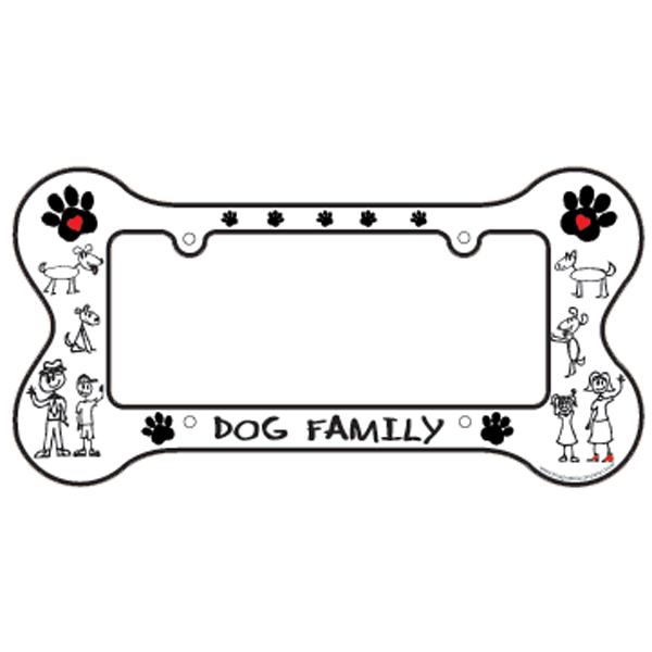 bone shaped license plate frame dog family - Dog License Plate Frames