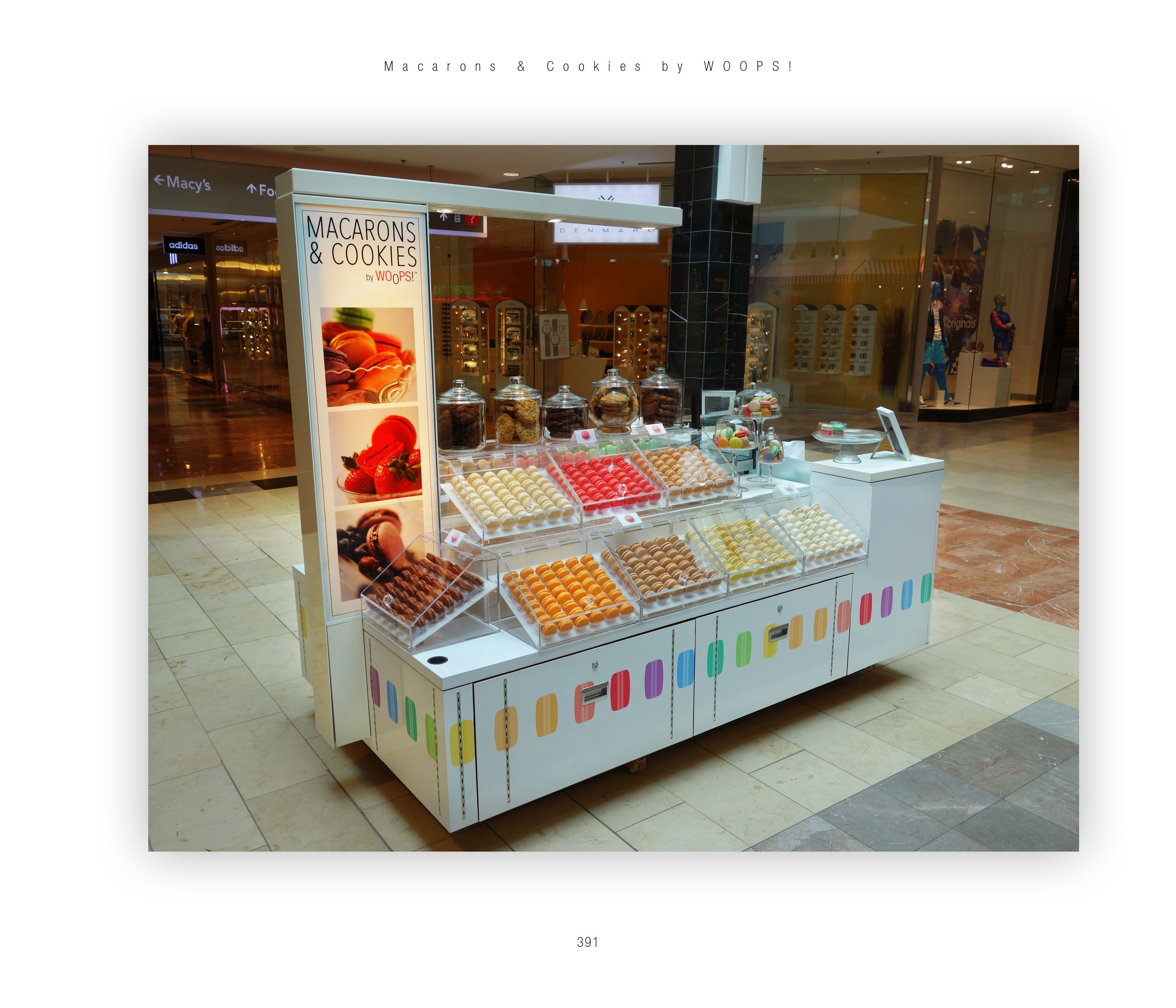 Macarons And Cookies By Woops Now In The Garden State Mall Westfield Mall Food Kiosk Kiosk Design Fish And Chip Shop