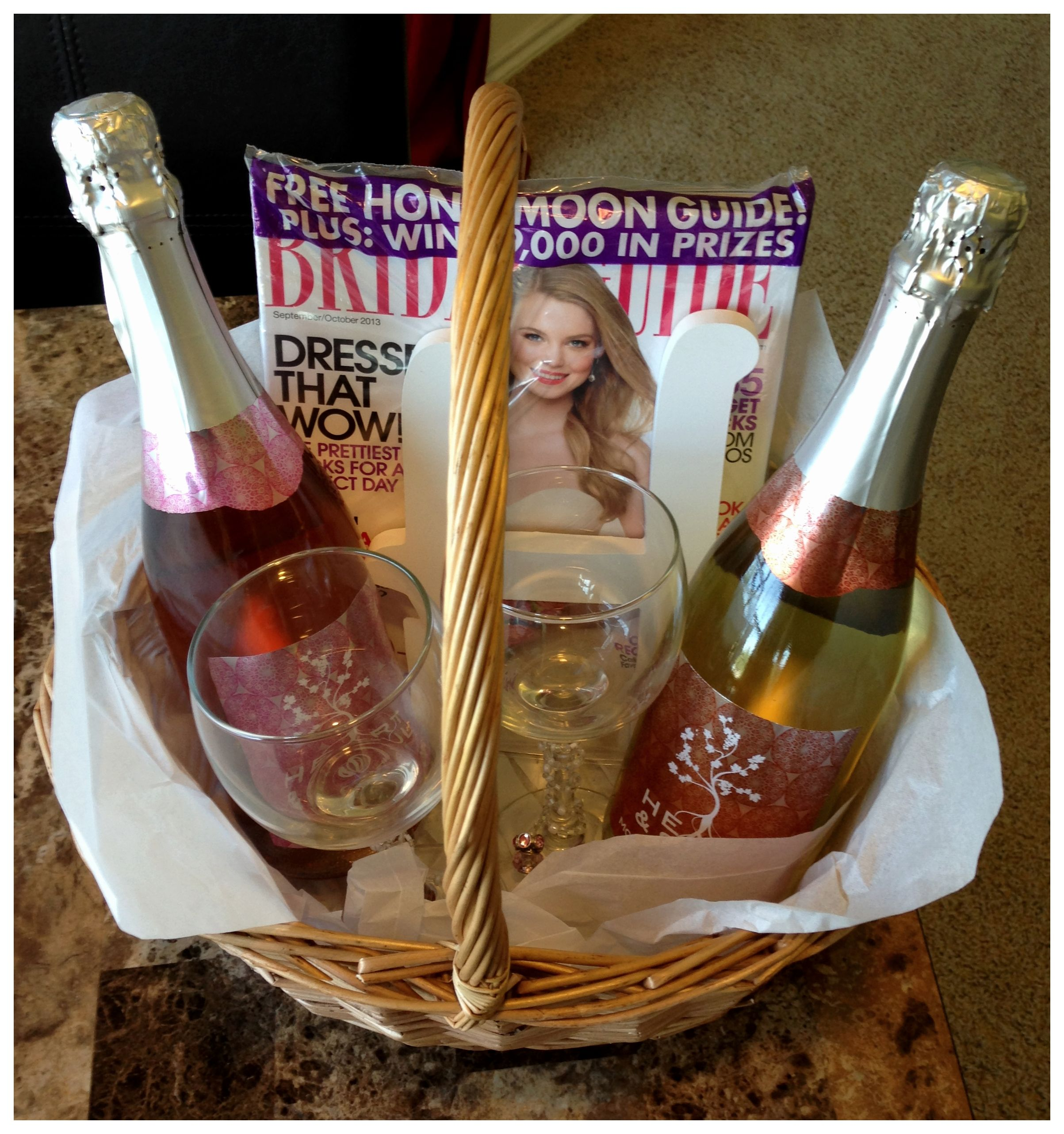 Easy Wedding Gift Ideas: Engagement Party Gift Basket With Sparkling Wine