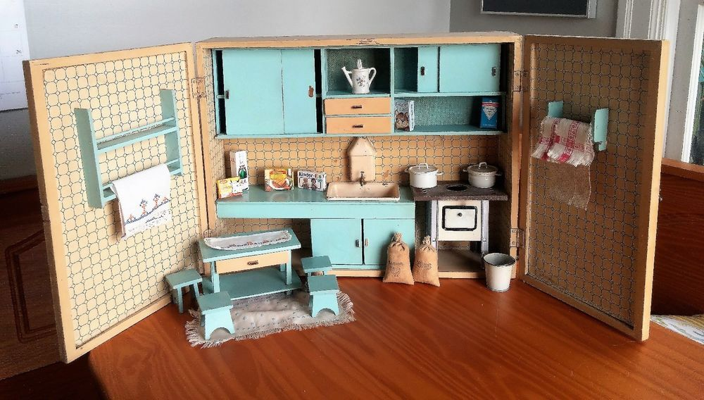 Fabulous Antique Vintage German Doll House Kitchen Roombox Wall Shelf Cabinet Dollhouse Kitchen Wall Shelves Home Kitchens