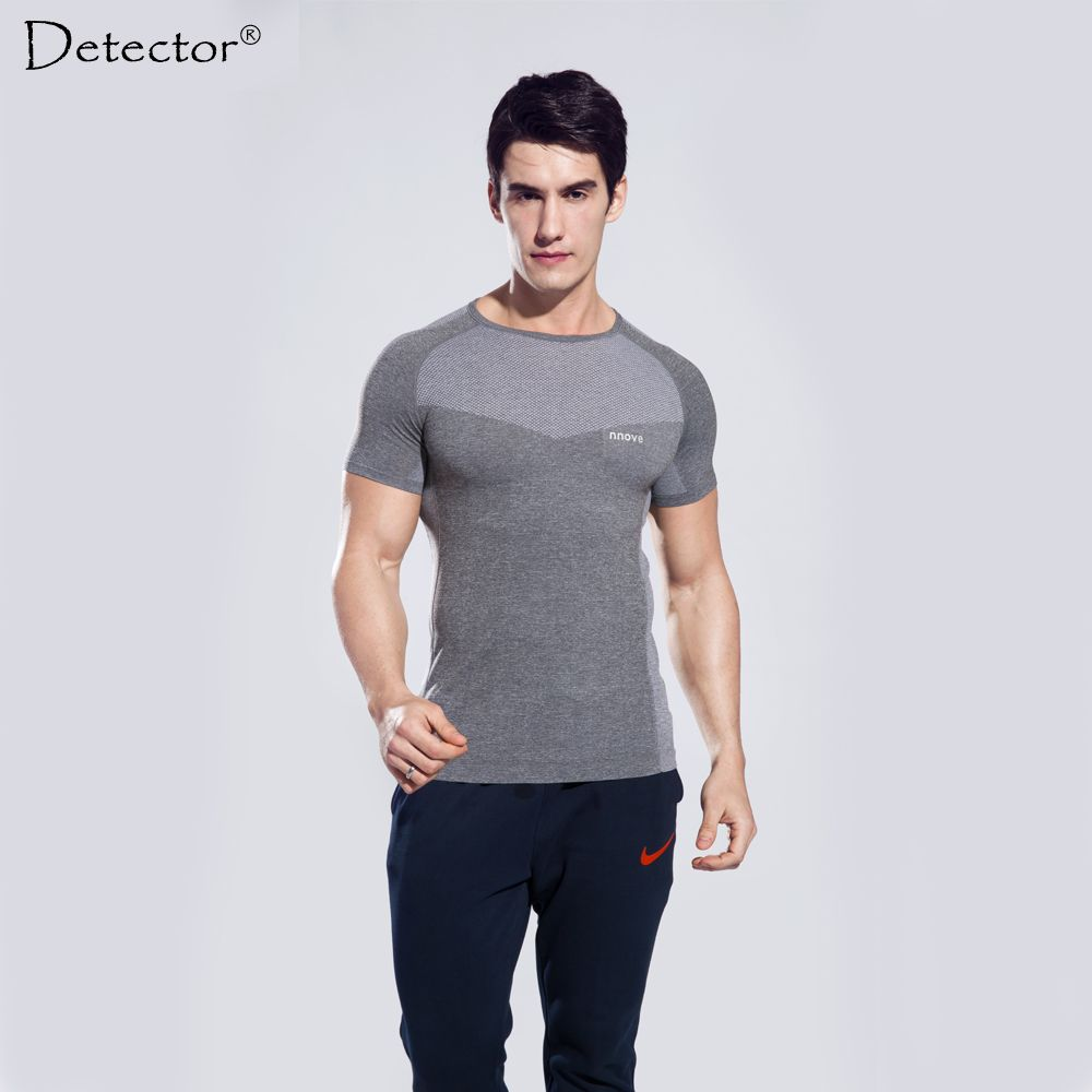 c58dd5a96f Detector Men sport fitness bodybuilding gym t shirt men lycra compression  tights running basketball crossfit under tee tops