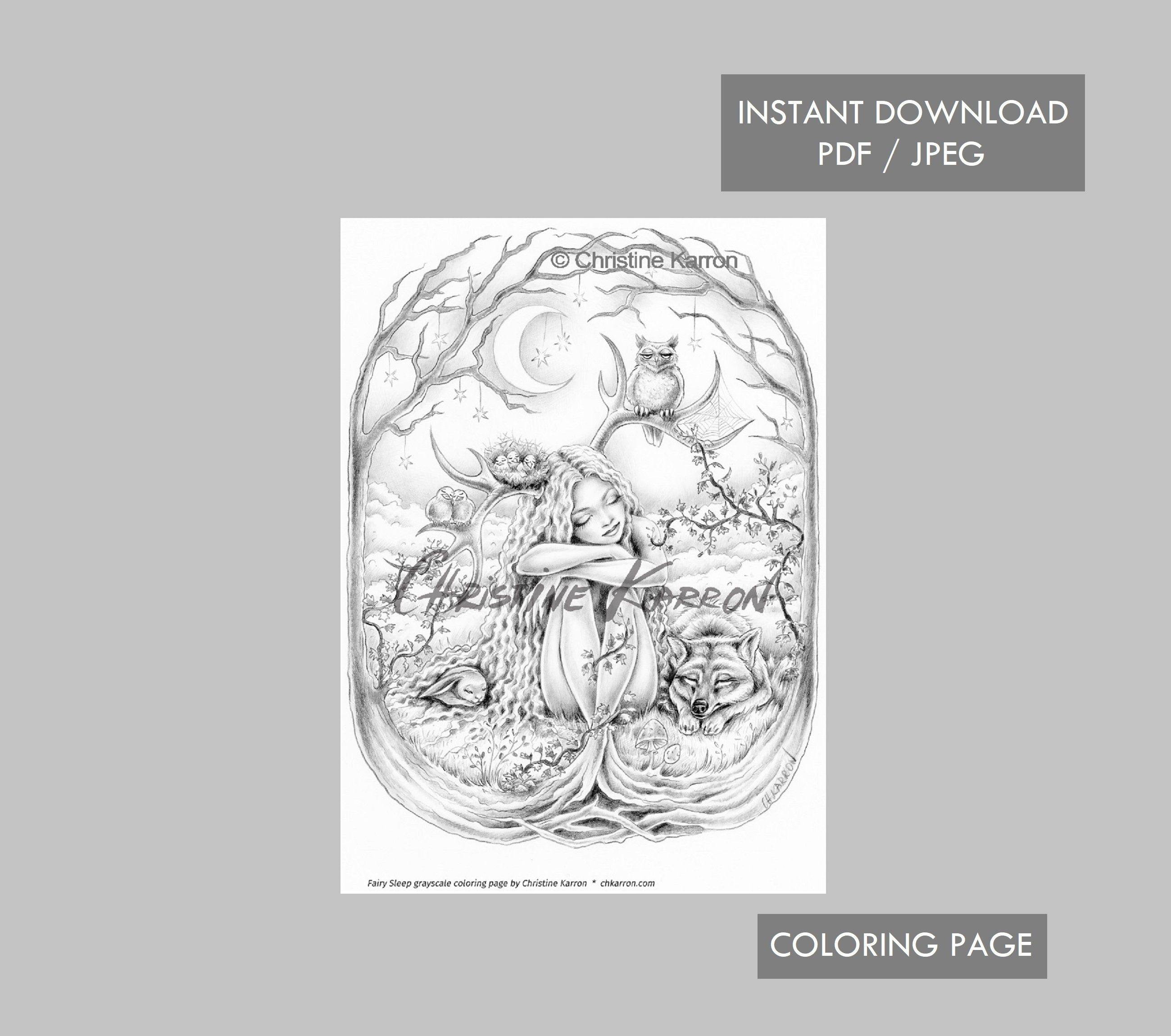 Fairy Sleep Coloring Page Grayscale Instant Download Printable File Jpeg And Pdf Coloring Pages Grayscale Coloring Books Grayscale Coloring [ 2300 x 2600 Pixel ]