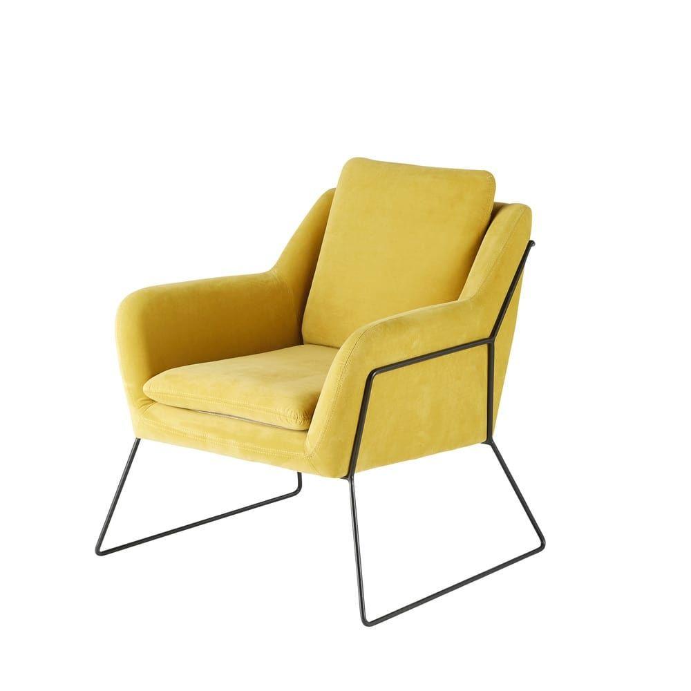 Mustard Yellow Velvet Armchair Jasper | Fauteuil velours
