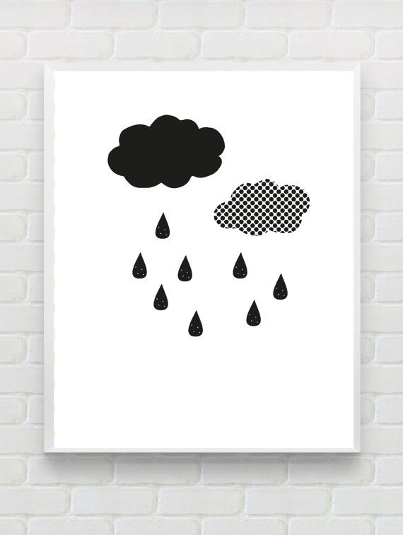 Printable black white nursery print instant download scandinavian poster minimalist nursery wall art digital raindrop kids room art print this