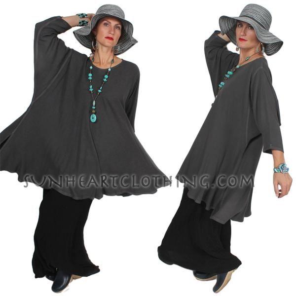 Hematite Gray Chenela Top or Dress Plus Over-Size Boho Sml-8x