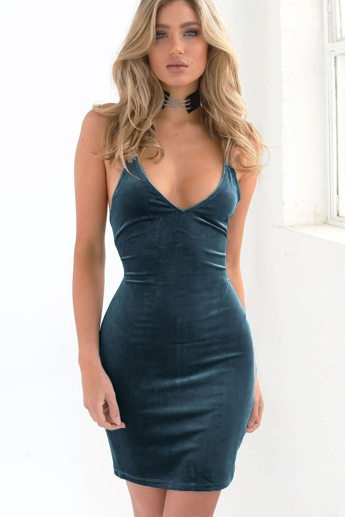 Spaghetti Strap V-neck Sleeveless Solid Sheath Short Dress | Pinterest
