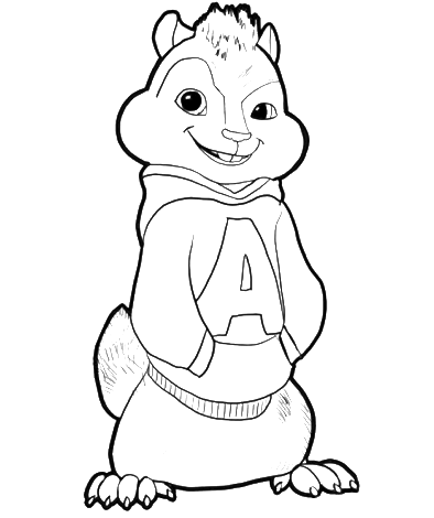 Alvin And The Chipmunks Grinning | Alvin and the Chipmunks Coloring ...