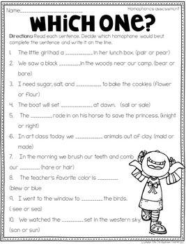 Homophone Activities Freebie by The Applicious Teacher