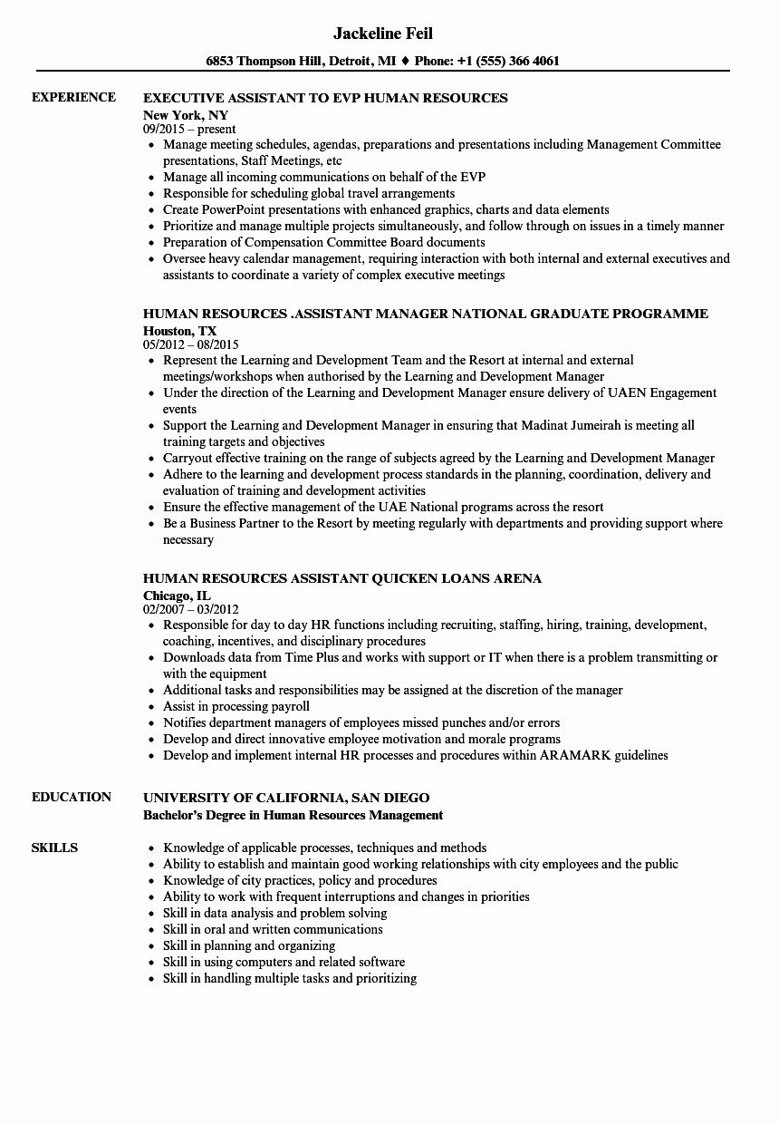Human Resource assistant Resume Best Of Human Resources