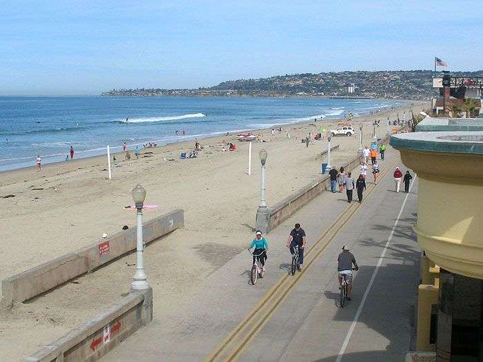 Mission Beach Boardwalk Historic Walking Areas Walk Along An Extremely Active With People Cycling Roller Blading And Skate Boarding At