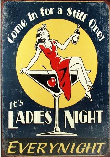 Ladies Night RETRO POSTER *A4 Sign VINTAGE WOMEN Wall Decor Pub Bar ...
