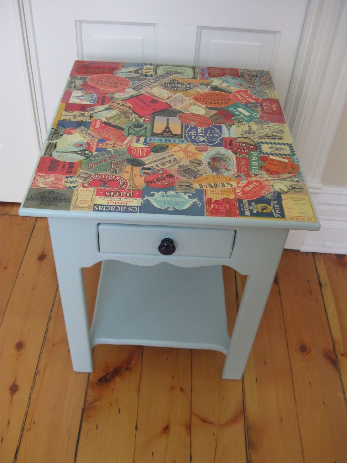 Cute Pine Side Table Painted Blue With French Travel Stickers Decoupaged On Top 175 00 Via Etsy