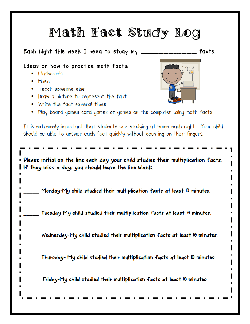 Math Fact Study Log.pdf - Google Drive | Teaching - Math Ideas ...