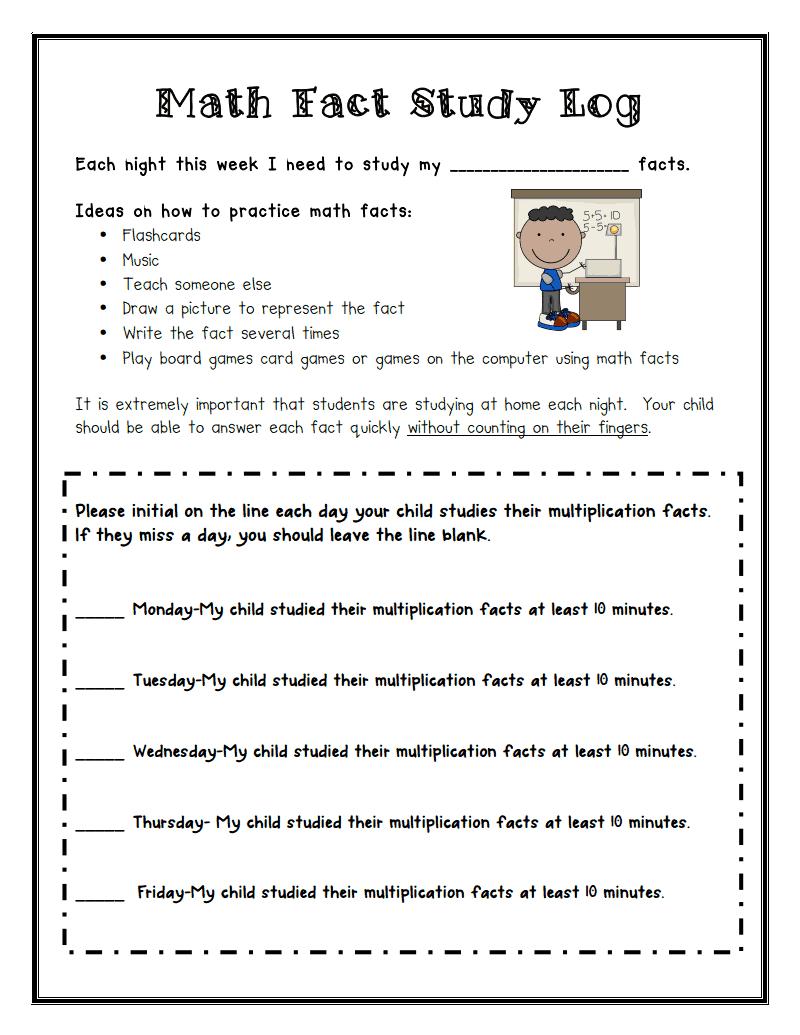 Math Fact Study Log.pdf - Google Drive | Math facts, Math ...