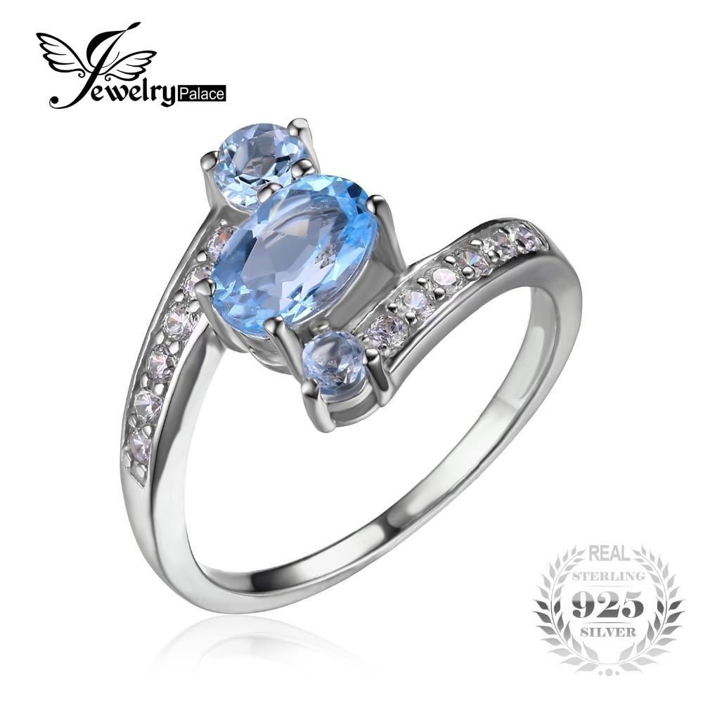 JewelryPalace Genuine Sky Blue Topaz Solitaire Ring Solid 925 Sterling Silver