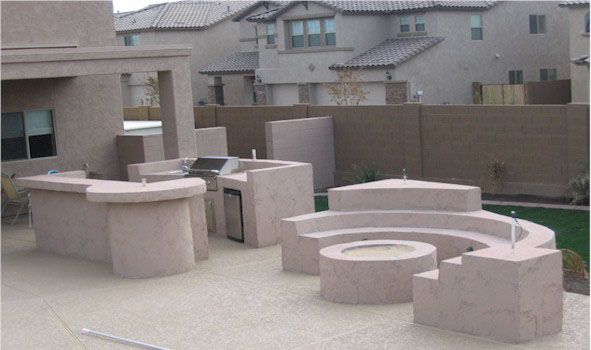 Az Landscape Concrete Flagstone Block Wall Built In Bbq Outdoor Kitchen Decor Backyard Design