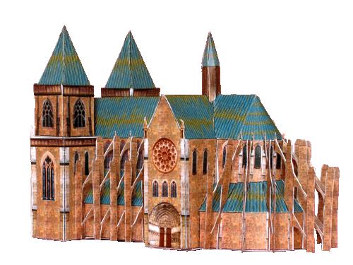 Maquette d 39 une cath drale en papier carton d couper plier et coller miniature pinterest - Maison papier a decouper ...