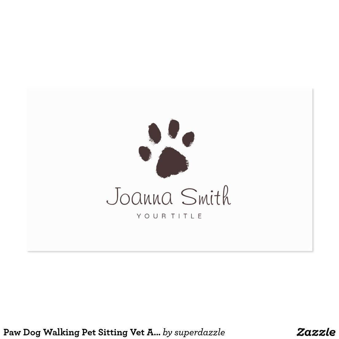 Paw Dog Walking Pet Sitting Vet Appointment Business Card. Fetures ...