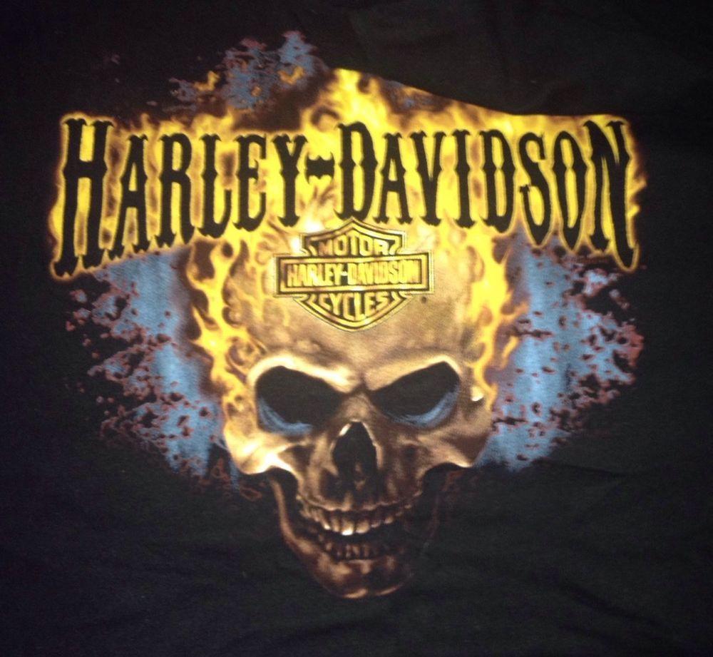 T shirt design reno nv - Men S Black Harley Davidson T Shirt Medium Skull Flames Chesters Reno Nevada