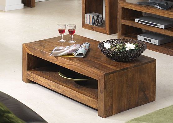 Cuba Sheesham Coffee Table With Shelf   Simple