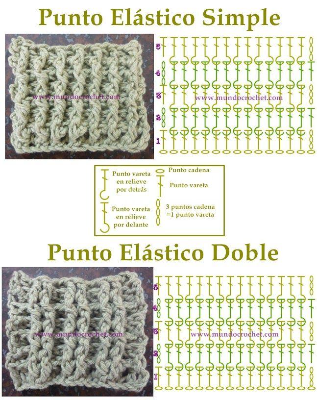 Punto elástico en crochet o ganchillo paso a paso   Moda crochet ...