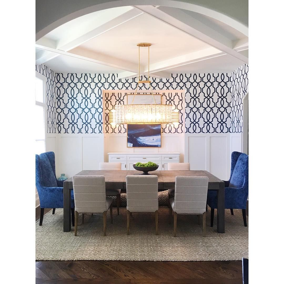 Blue Wainscoting: Gorgeous Blue Wallpapered Dining Room With Wainscoting
