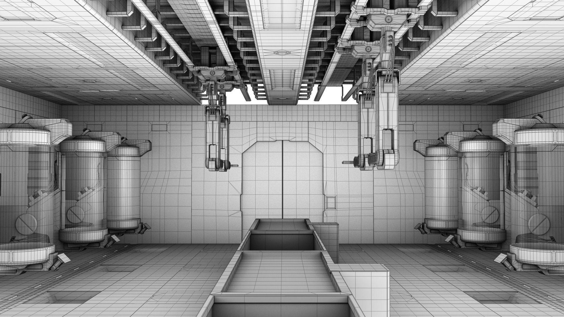 laboratory sci fi sci fi lab interior modular 3d model