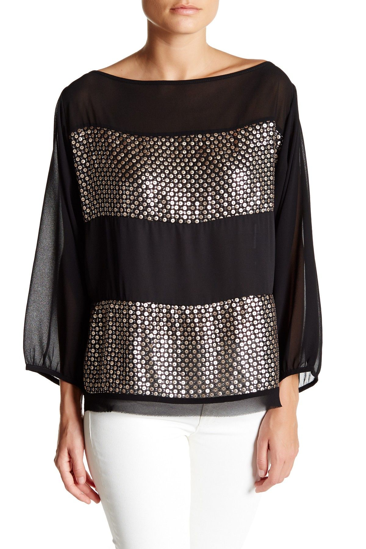 Gold and Black Sequin Blouse