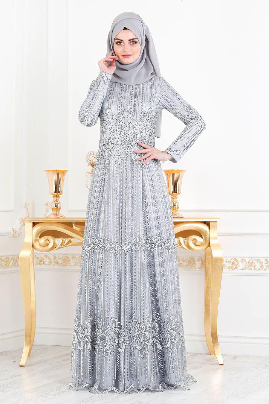 2c705e964c682 Tesettürlü Abiye Elbise - Simli Pırıltılı Gri Tesettür Abiye Elbise 20841GR