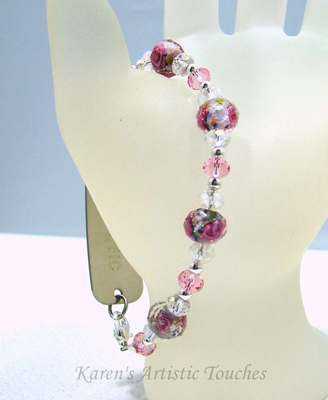 Karen's Artistic Touches Store - Light Pink Rose Swarovski Crystal Beaded Medical ID Alert Bracelet, $17.99 (http://www.karensartistictouches.com/light-pink-rose-swarovski-crystal-beaded-medical-id-alert-bracelet/)