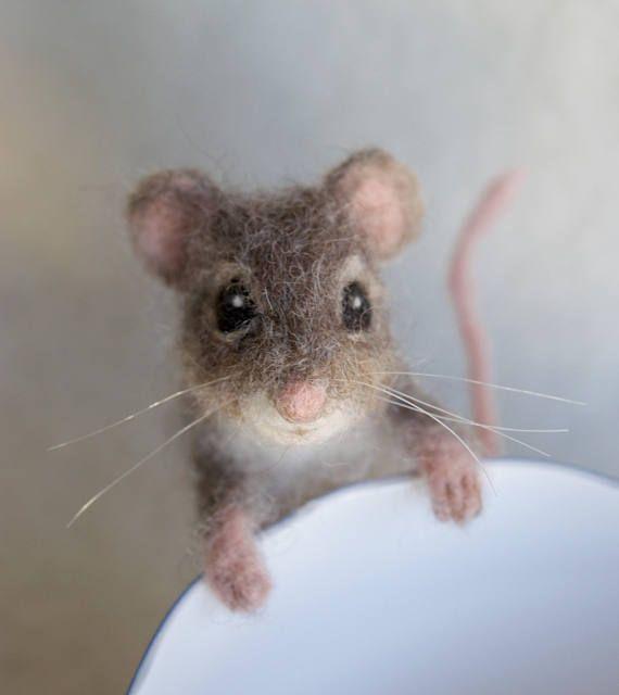 Nadel gefilzt Maus, bewegliche realistischen lebensgroßen #needlefeltedanimals