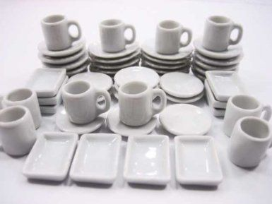 Dollhouse Miniature 2 White Mugs Filled with Coffee B0267