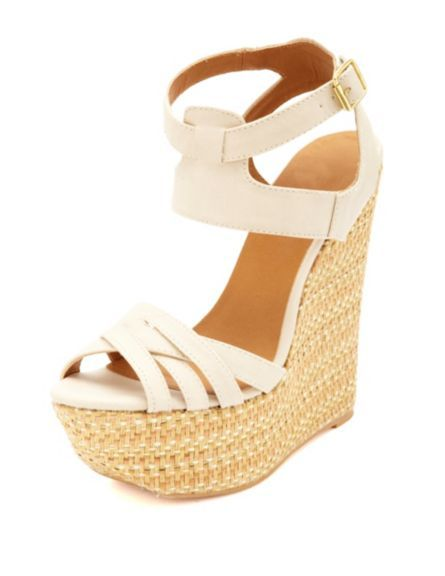 e56fc6239271 Crisscrossing Ankle Cuff Woven Wedge Sandals  Charlotte Russe
