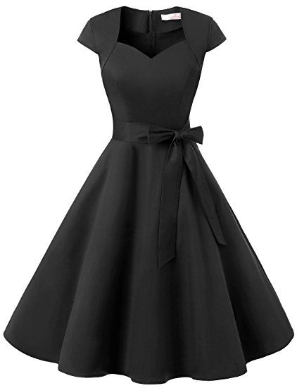 Dressystar DS1955 Women Vintage 1950s Swing Cap Sleeevs Prom Dresses V Neck  L Black 50655d560840
