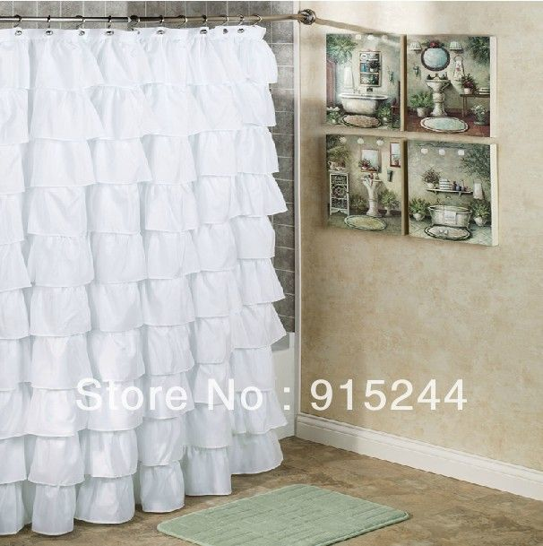 Girl romanticdoctrine waterfall ruffle polyster shower curtains ...
